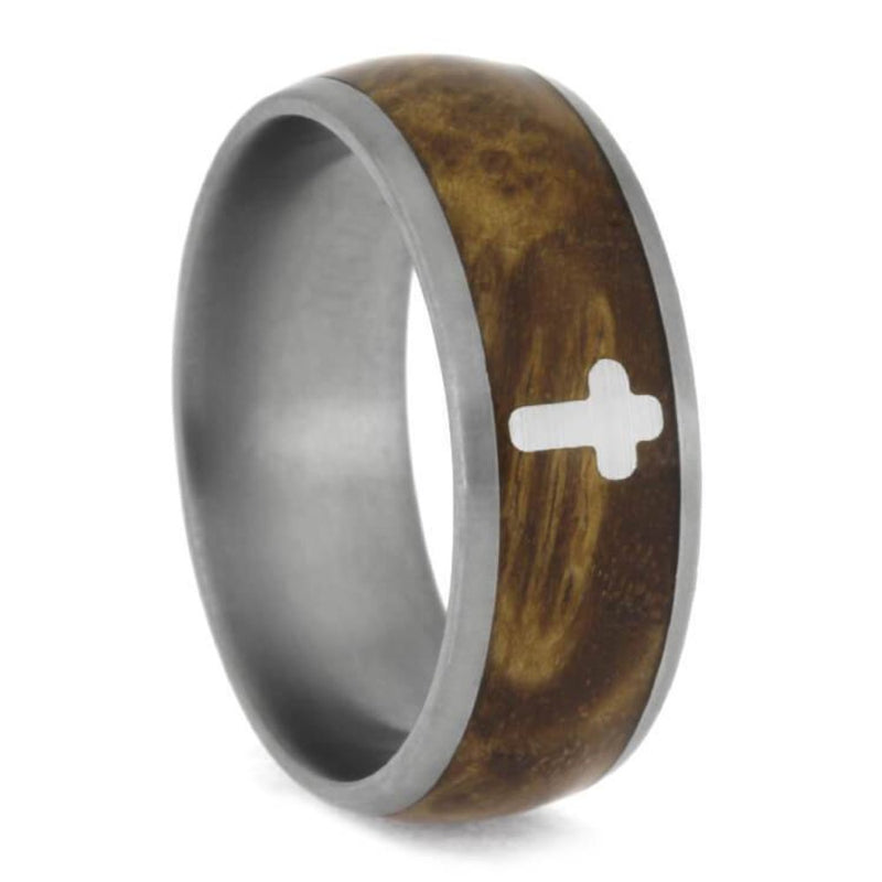 The Men's Jewelry Store (Unisex Jewelry) Black Ash Burl with Silver Cross 8mm Matte Comfort-Fit Titanium Band