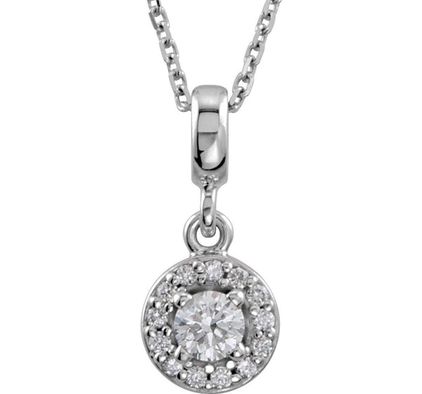 "Diamond Halo-Style Necklace, Rhodium-Plated 14k White Gold, 18"" (0.2 Ctw, Color G-H, Clarity I1)"