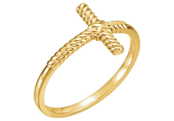 Sideways Cross Rope-Trim 14k Yellow Gold Ring