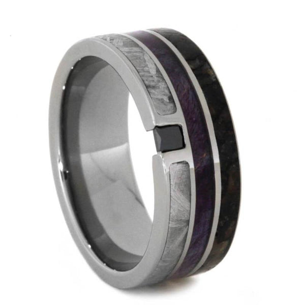 The Men's Jewelry Store (Unisex Jewelry) Black Diamond, Dinosaur Bone, Meteorite, Purple Box Elder Wood 8.5mm Titanium Comfort-Fit Band