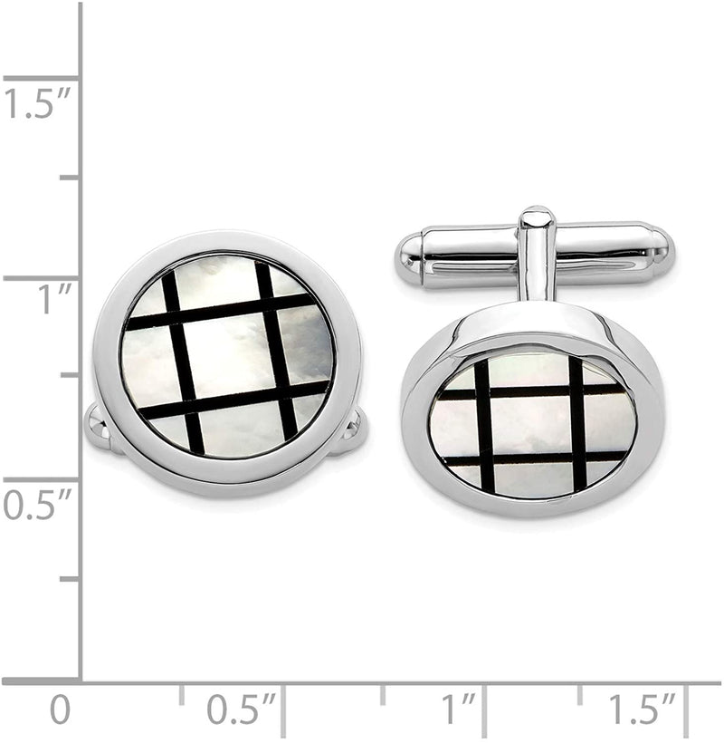 Italian Rhodium-Plated Sterling Silver, Mother of Pearl Round Cuff Links, 18 Millimeters