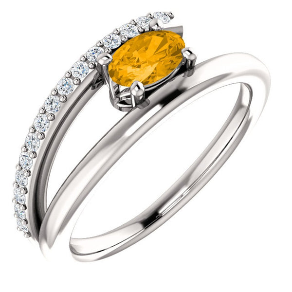 Platinum Citrine and Diamond Bypass Ring (.125 Ctw, G-H Color, S12-S13 Clarity)