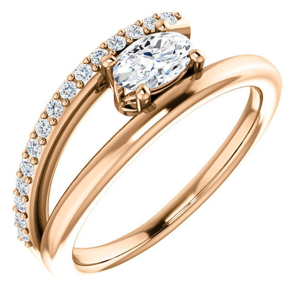 White Sapphire and Diamond Bypass Ring, 14k Rose Gold (.125 Ctw, G-H Color, I1 Clarity)