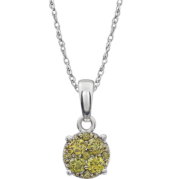 "Yellow Diamond Pendant Necklace in 14k White Gold, 18"" (1/5 Cttw)"