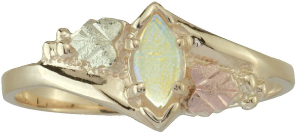 Opal Cabochon Marquise Bypass Ring, 10k Yellow Gold, 12k Green and Rose Gold Black Hills Gold Motif, Size 5