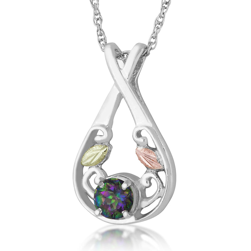 Mystic Fire Topaz Teardrop Pendant Necklace, Sterling Silver, 12k Green and Rose Gold Black Hills Gold Motif, 18''