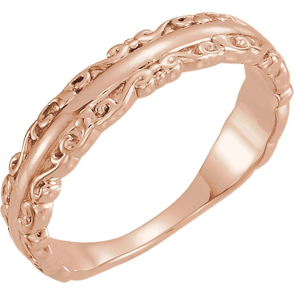 Scrollwork Stackable Ring, 14k Rose Gold, Size 7.75