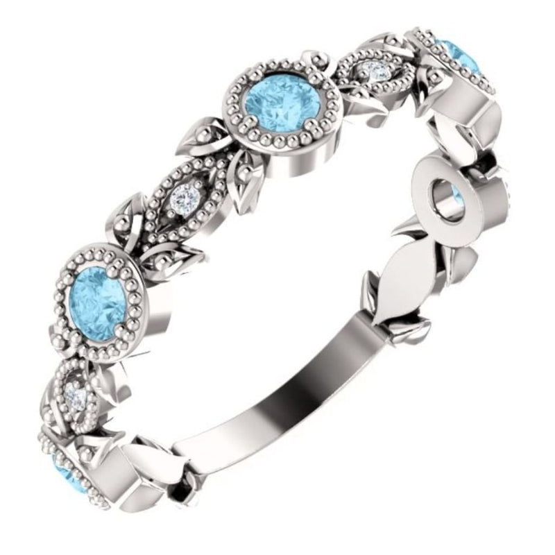 Platinum Aquamarine and Diamond Vintage-Style Ring (0.03 Ctw, G-H Color, SI2-SI3 Clarity)
