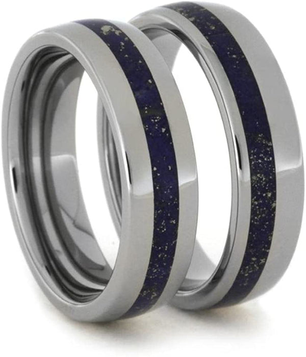 Lapis Lazuli Comfort-Fit His and Hers Titanium Wedding Band Set, M9-F4.5
