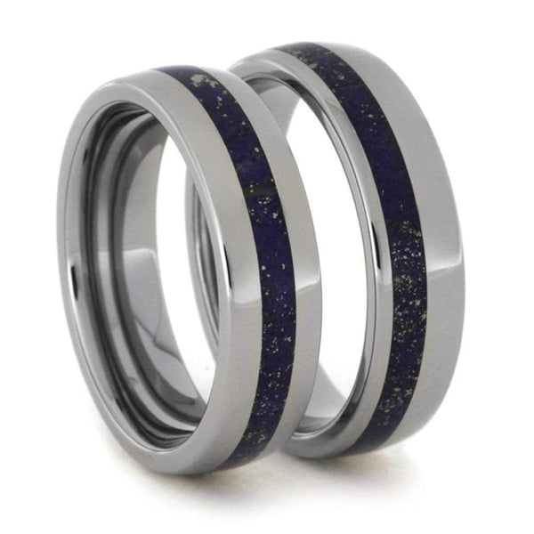 Lapis Lazuli Comfort-Fit His and Hers Titanium Wedding Band Set