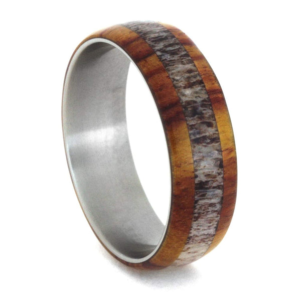 Tulip Wood, Deer Antler 7mm Comfort-Fit Matte Titanium Band, Size 10