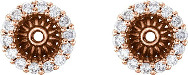 Diamond Cluster Earring Jackets,14k Rose Gold (5.1 MM) (0.16 Ctw, G-H Color, I2 Clarity)