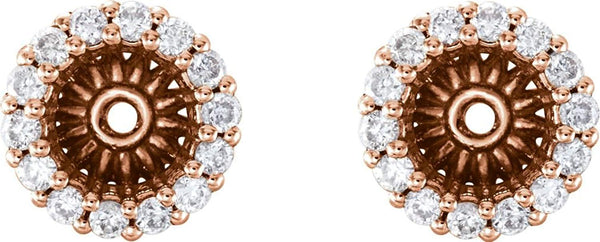 Diamond Cluster Earring Jackets,14k Rose Gold (4.1MM) (0.16 Ctw, G-H Color, I2 Clarity)