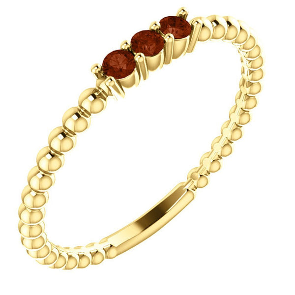 Mozambique Garnet Beaded Ring, 14k Yellow Gold, Size 6.5