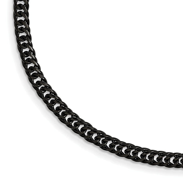 Men's Polished Stainless Steel Black IP-Plated Double Curb Chain Bracelet, 9""