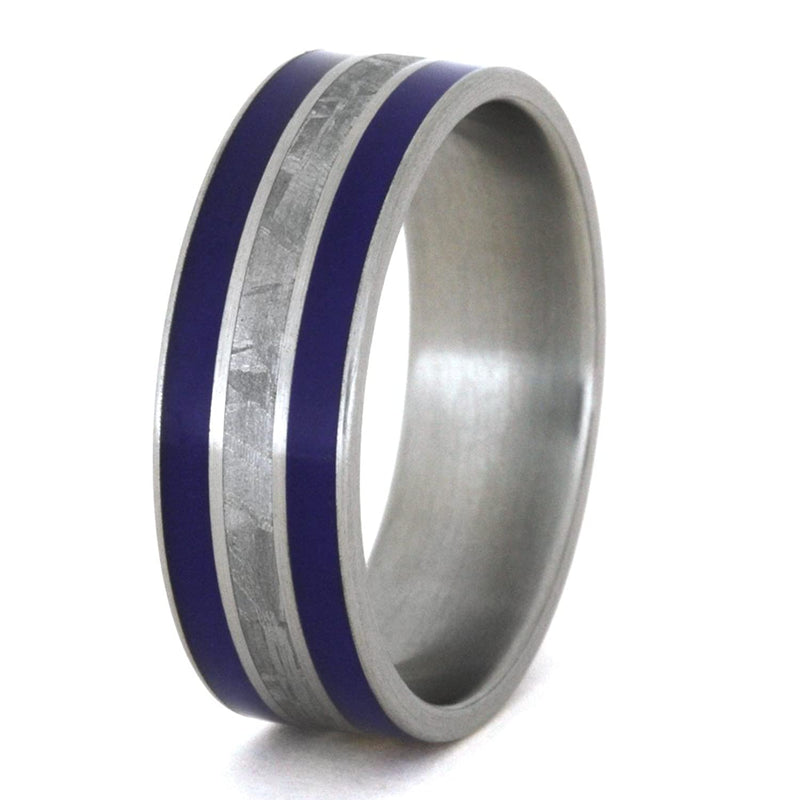Meteorite, Blue Enamel Inlay 8mm Comfort-Fit Brushed Titanium Band