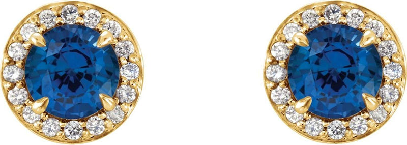 Blue Sapphire and Diamond Halo-Style Earrings, 14k Yellow Gold (3.5 MM) (.125 Ctw, G-H Color, I1 Clarity)