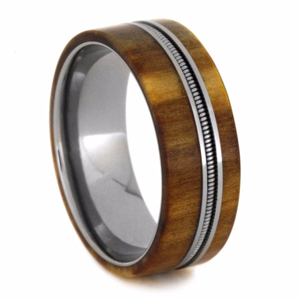 Bass Guitar String, Rowan Wood 8mm Comfort-Fit Titanium Wedding Band
