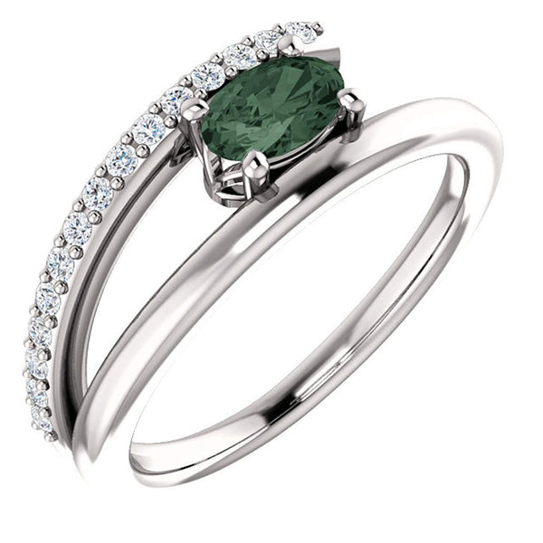 Chatham Created Alexandrite and Diamond Bypass Ring, Rhodium-Plated 14k White Gold (.125 Ctw, G-H Color, I1 Clarity)