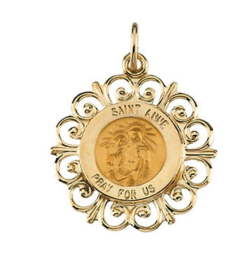 Rhodium Plated 14k Yellow Gold St. Anne de Beau Pre Medal (18.5 MM)
