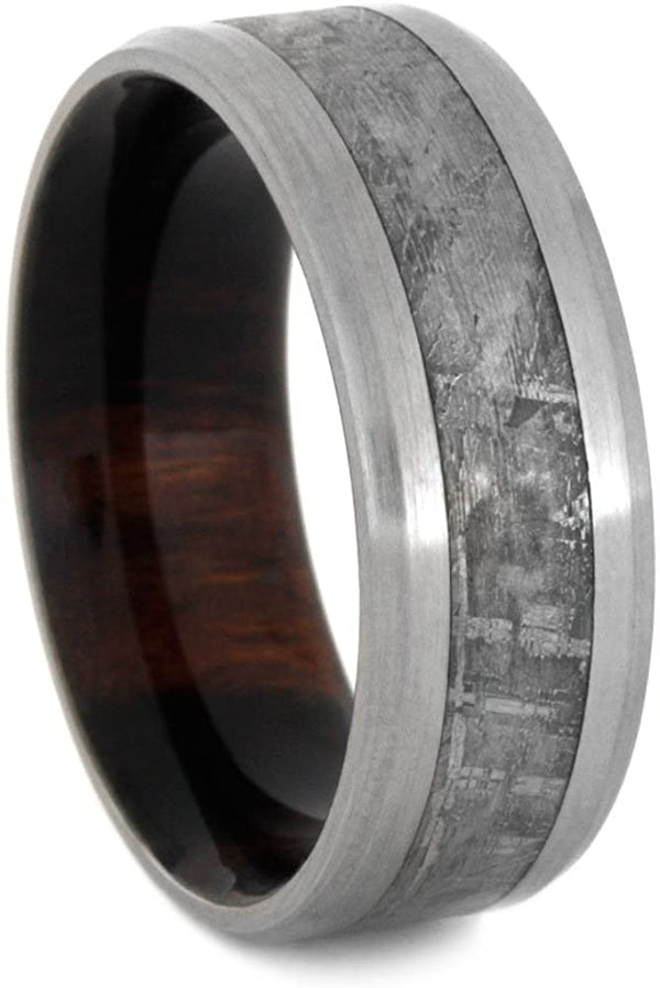 Gibeon Meteorite, Brushed Titanium 8mm Comfort-Fit Ironwood Band, Size 11