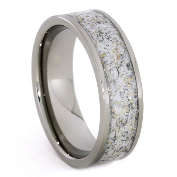 The Men's Jewelry Store (Unisex Jewelry) White Stardust with Meteorite and 14k Yellow Gold 7mm Comfort-Fit Titanium Ring
