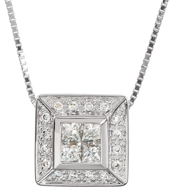 "Square Diamond Pendant Necklace in 14k White Gold, 18"" (3/8 Cttw)"