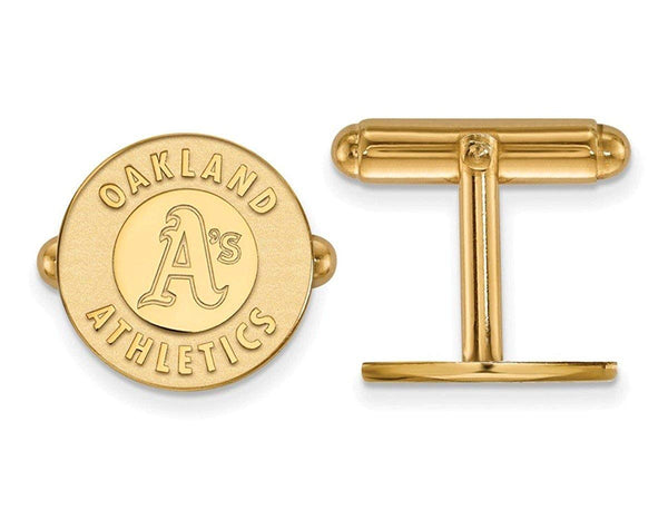 Gold-Plated Sterling Silver MLB Oakland Athletics Round Cuff Links, 15MM