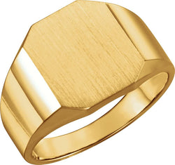 Men's 10k Yellow Gold Octagon Brush Finish Flat-Top Signet Ring