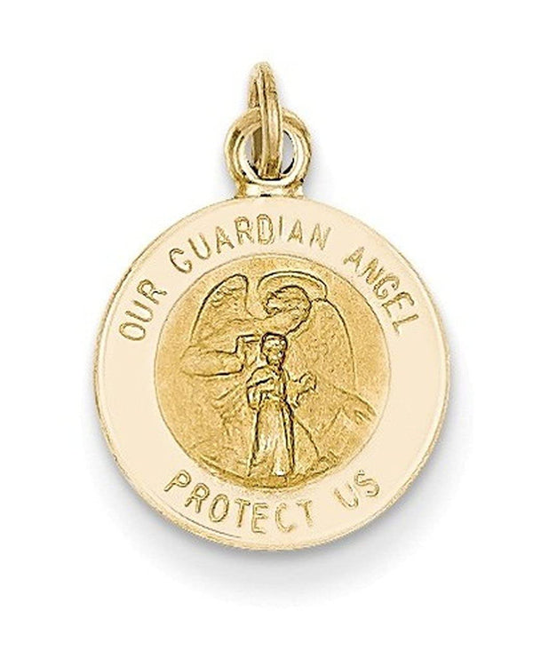 14k Yellow Gold Guardian Angel Medal Pendant (17X12MM)