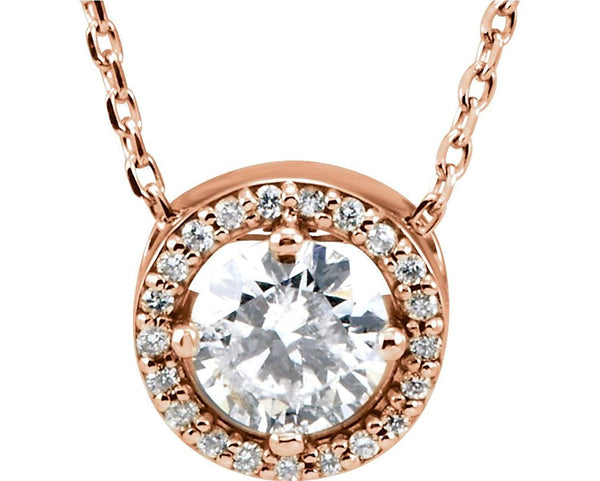 "18-Stone Diamond Halo 14k Rose Gold Pendant Necklace, 16"" (.25 Cttw)"