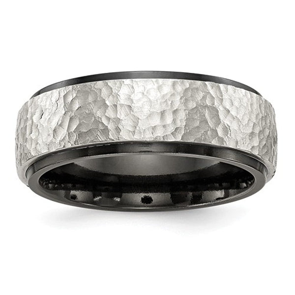 Edward Mirell Black Titanium and Sterling Silver Hammered 8mm Band