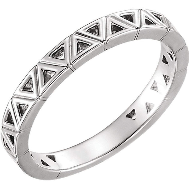 Stackable Geometric Ring, Rhodium-Plated 14k White Gold