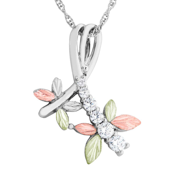 6-Stone CZ Dragonfly Pendant Necklace, Sterling Silver, 12k Green and Rose Gold Black Hills Gold Motif, 18""
