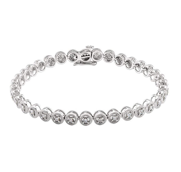 "1 Cttw. 14k White Gold Diamond Tennis Bracelet, 7.25"" (1 Cttw., GH Color, I1)"