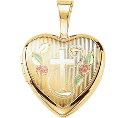 Petite Diamond-Cut Cross and Roses 14k Yellow Gold Plated Sterling Silver Locket Pendant (12.50X12.00 MM)