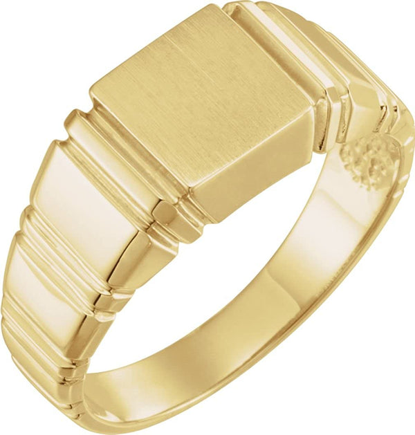 Men's Open Back Square Signet Ring, 14k Yellow Gold (11mm)