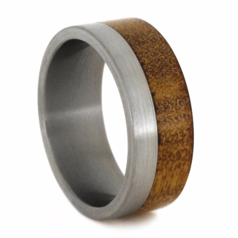 Kauri Wood 8mm Comfort-Fit Brushed Titanium Wedding Band