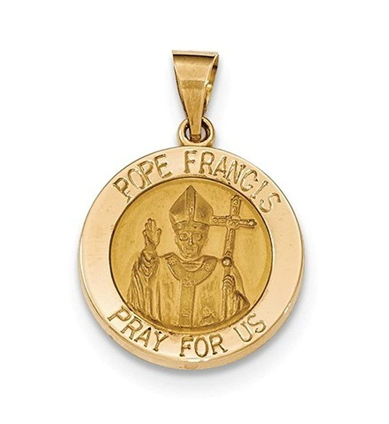 14k Yellow Gold Gold Satin and Polished Hollow Pope Francis Medal