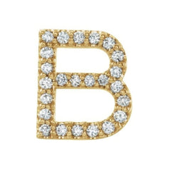 14k Yellow Gold Gold Diamond Letter 'B' Initial Stud Earring (Single Earring) (.10 Ctw, GH Color, I1 Clarity)