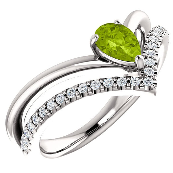 Peridot Pear and Diamond Chevron Sterling Silver Ring (.145 Ctw, G-H Color, I1 Clarity), Size 7