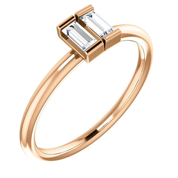 Diamond Two-Stone Ring, 14k Rose Gold, Size 7 (.25 Ctw, G-H Color,I1 Clarity)