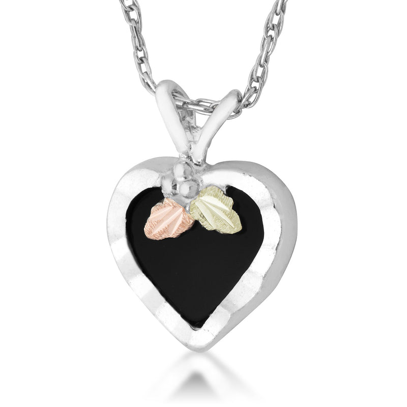 Onyx Heart Pendant Necklace, Sterling Silver, 12k Green and Rose Gold Black Hills Gold Motif, 18''