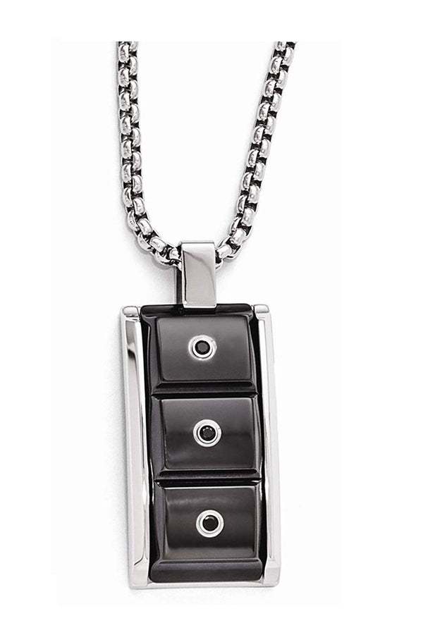 Edward Mirell Black Titanium and Black Spinel with Sterling Silver Bezel Pendant Necklace, 20""