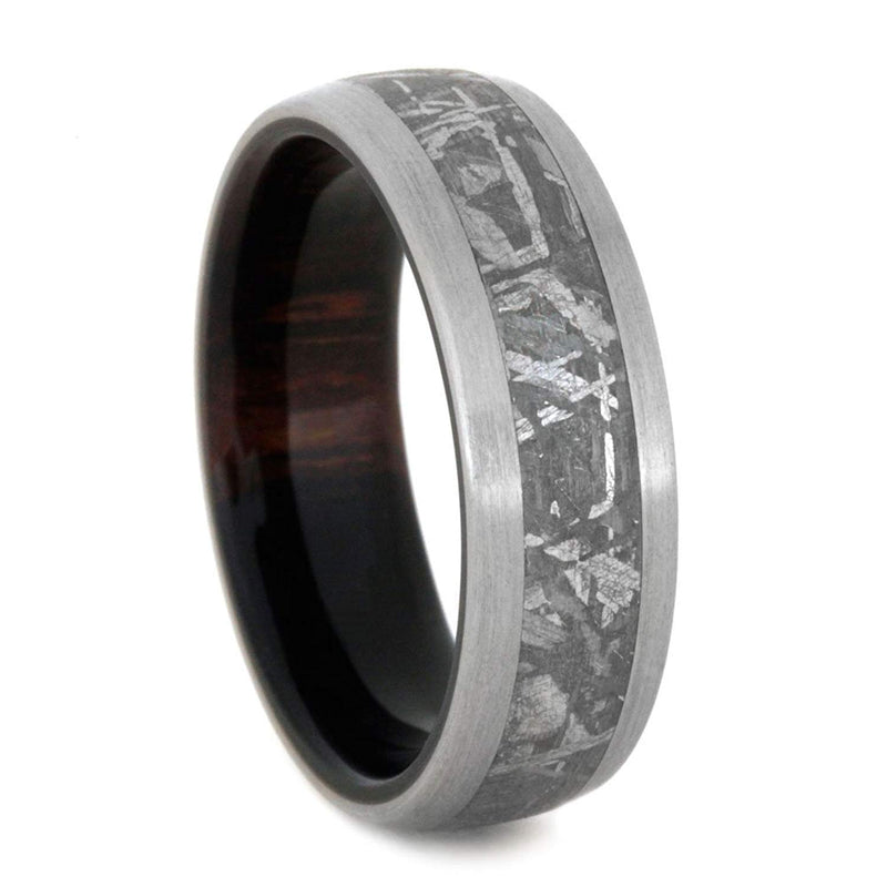 Gibeon Meteorite, Brushed Titanium 7mm Comfort-Fit Ironwood Ring