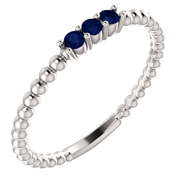 Blue Sapphire Beaded Ring, Sterling Silver, Size 7.25