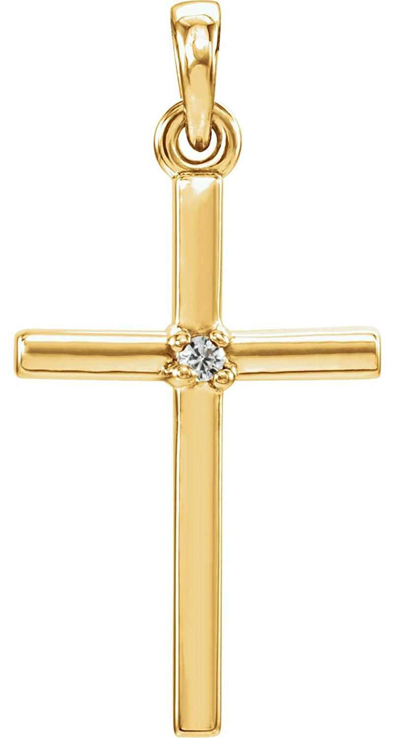 White Sapphire Inset Cross 14k Yellow Gold Pendant (22.65x11.4MM)