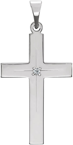Diamond Cross 14k White Gold Pendant