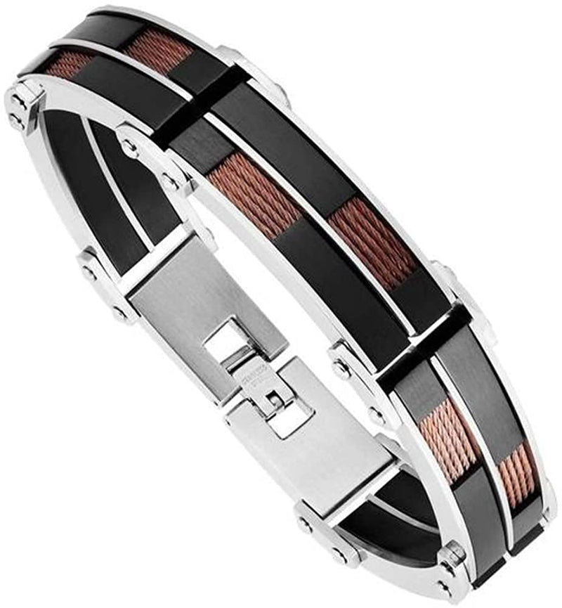 Men's Black Ion Plated with Brown Wire Link Bracelet, Stainless Steel, 8.75""