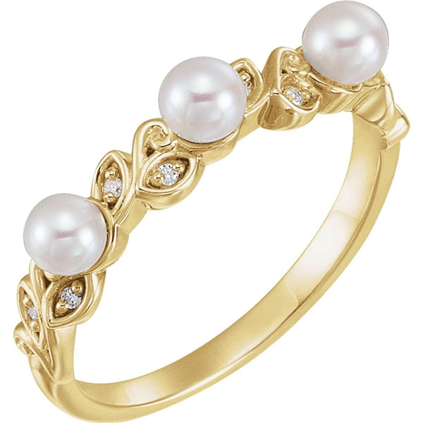 White Cultured Pearl, Diamond Stackable Leaf Ring, 14k Yellow Gold (3.5mm)(.03Ctw, Color G-H, Clarity I1)